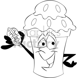 black and white cartoon ice cream mascot character with a chocolate coating  clipart. Royalty.