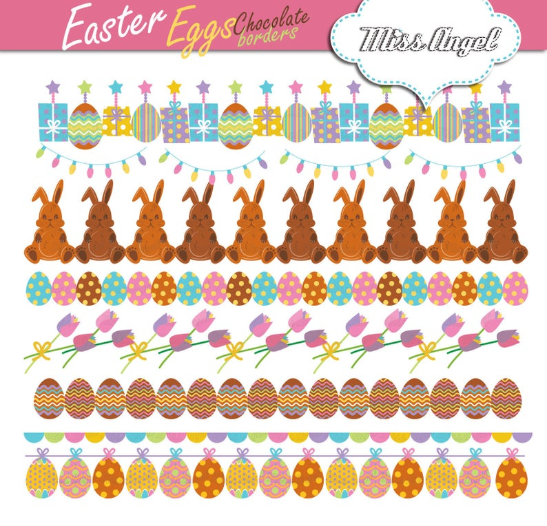 Easter borders clip art. Chocolate Eggs Buntings. Digital Easter eggs  garlands clip art. Small Commercial Use. Easter bunting banners.
