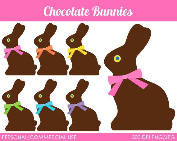 Chocolate Bunnies Clipart Digital Clip Art por MareeTruelove.
