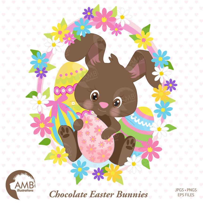 Easter Clipart, Bunny Clipart, Chocolate Bunny Clipart, Easter Chocolate  clipart, Easter Egg Hunt Clipart, Commercial Use, AMB.