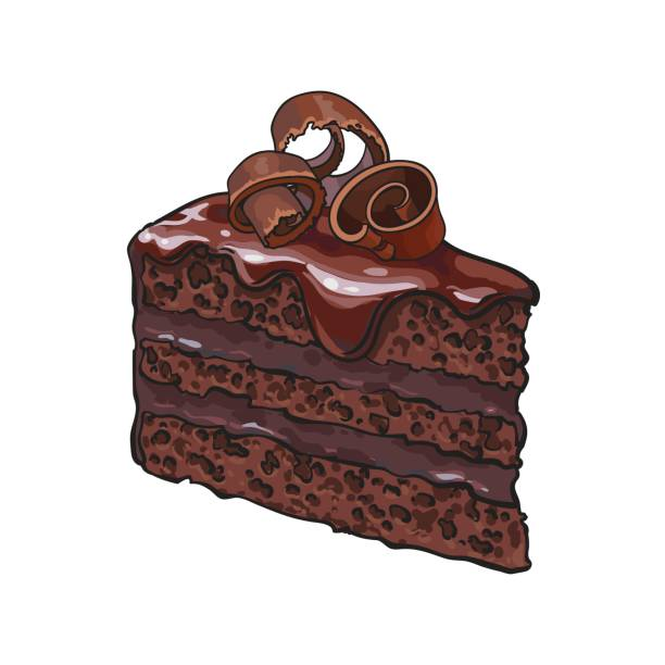 Best Chocolate Cake Illustrations, Royalty.