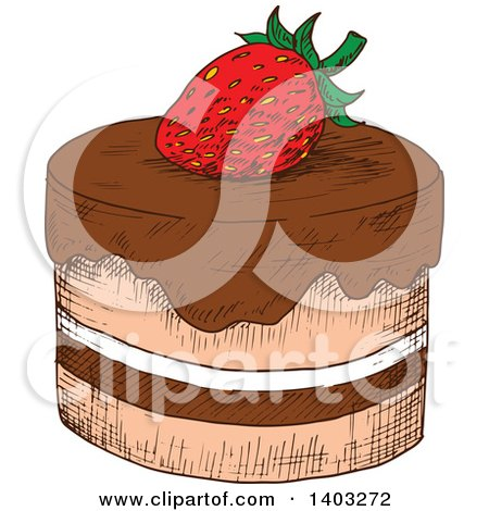 Clipart of a Layered Cake with Chocolate and Whipped Cream, a.