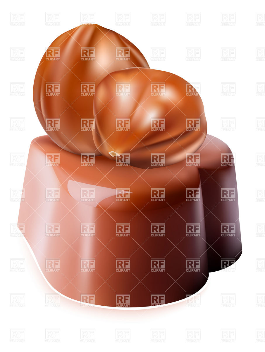 Chocolate candy with Hazelnut Stock Vector Image.