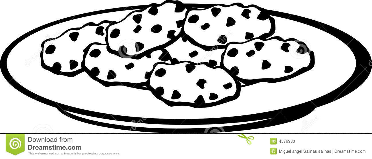 Chocolate chip cookies clipart black and white 3 » Clipart Station.