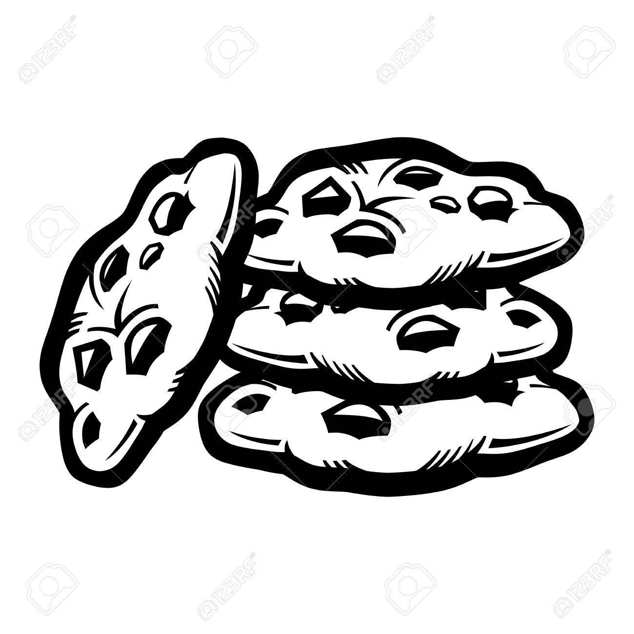 Chocolate chip cookies clipart black and white 6 » Clipart Portal.