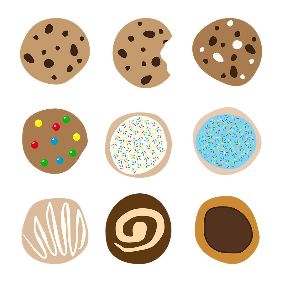 9 Cookies Clipart, Chocolate Chip Cookie Clipart, Dessert Clipart.