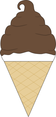 Chocolate Coated Soft Serve Ice Cream Cone Clip Art.
