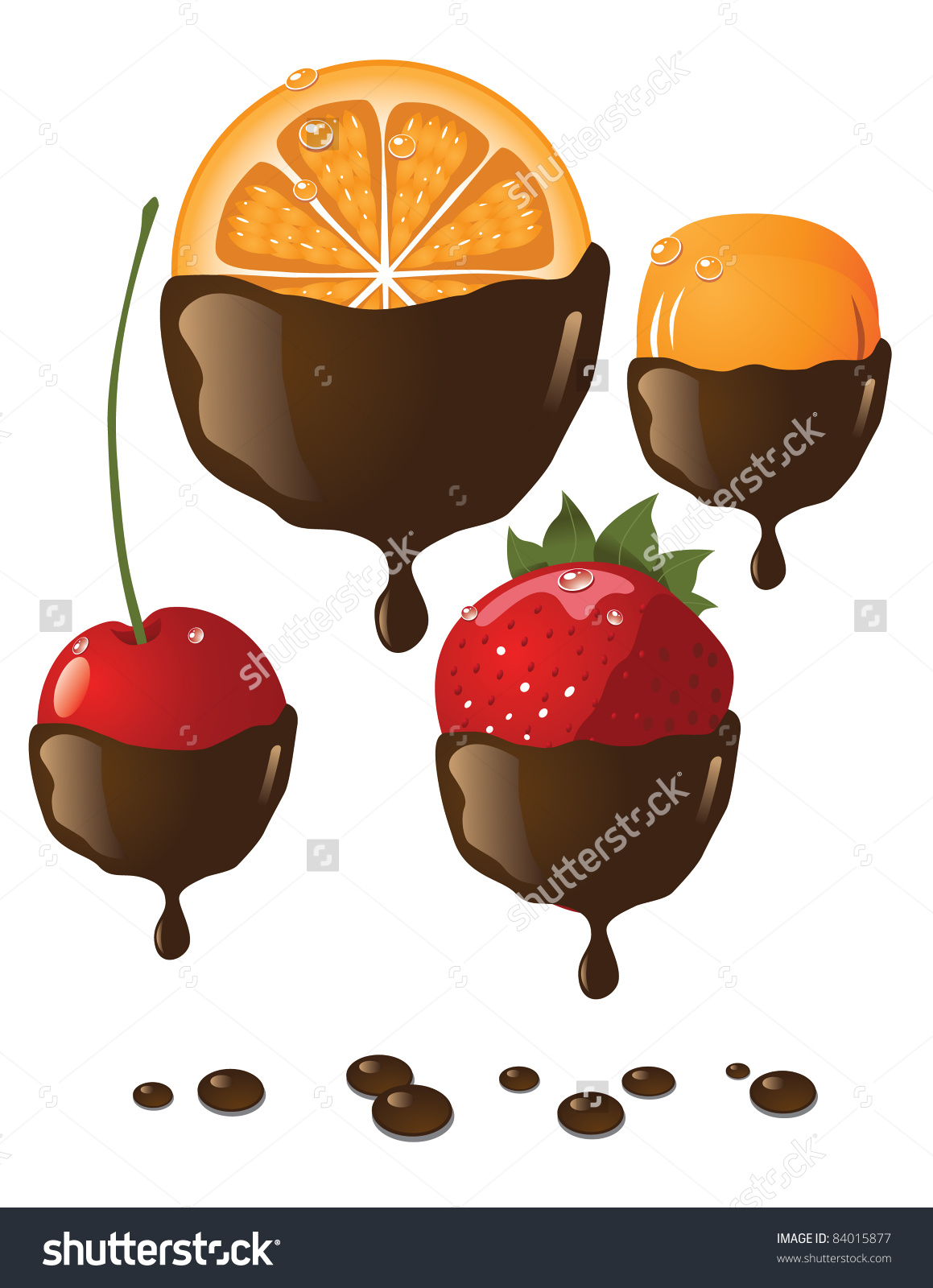 Chocolate Covered Fruits Icons Delicious Fruits Stock Vector.