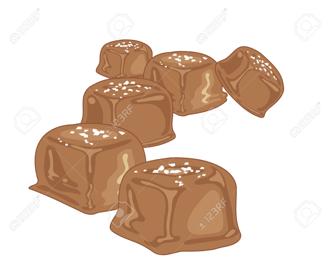 An Illustration Of Pieces Of Caramel Candy With A Chocolate.