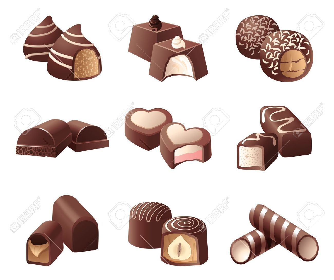 9 Highly Detailed Chocolate Candies Royalty Free Cliparts, Vectors.