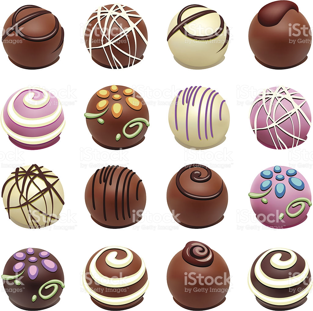 A Set Of Chocolate Candies With Special Designs stock vector art.
