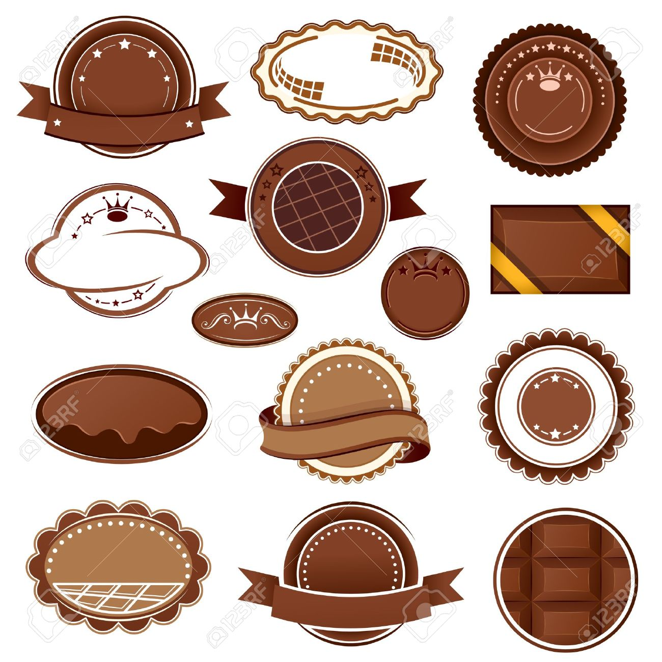 Set Of Chocolate Badges And Labels Royalty Free Cliparts, Vectors.