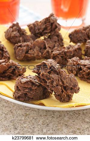 Stock Photography of Chocolate Cornflake Cakes k23799681.