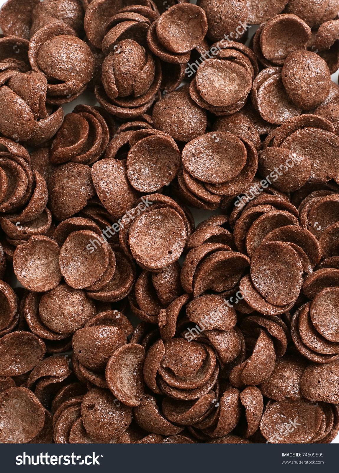 Chocolate Cornflakes Backrgound Stock Photo 74609509.