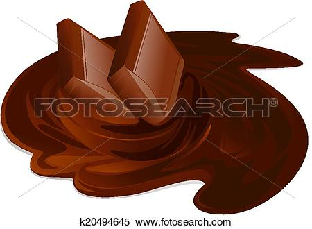 Clipart of Melting chocolate bars. Chocolate cream and sticks on.