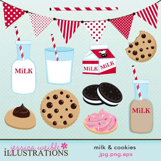 Milk & Cookies clipart set comes with 10 graphics including: a.