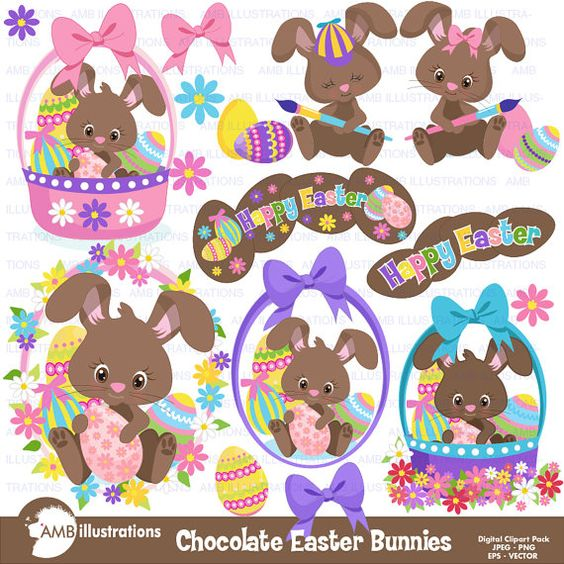 Easter Clipart, Bunny Clipart, Chocolate Bunny Clipart, Easter.
