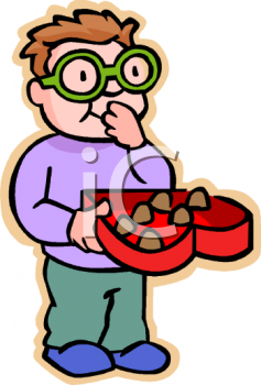Royalty Free Clip Art Image: Boy with Glasses Eating Valentine.