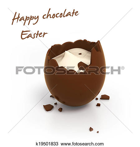 Drawing of Happy Easter chocolate egg with cream filling k19501833.