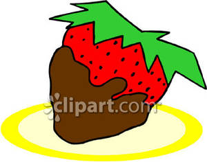 A Chocolate Dipped Strawberry Royalty Free Clipart Picture.