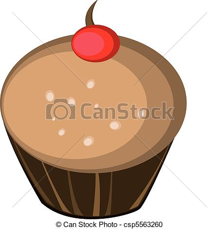 Vector Clipart of chocolate flavor muffin with cherry on top.