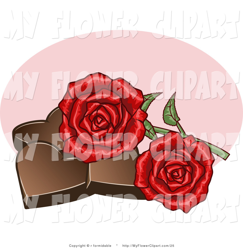 Clip Art of Two Red Roses Resting on Chocolate Valentine Hearts by.
