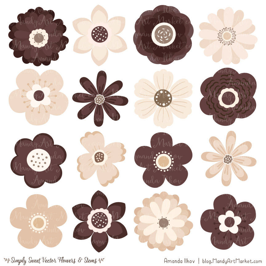 Cute Flowers Clipart in Chocolate.