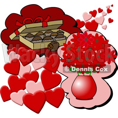 of Chocolate Candies and a Vase of Red Flowers With Hearts for.