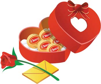 Chocolate rose and love mail, Vector.