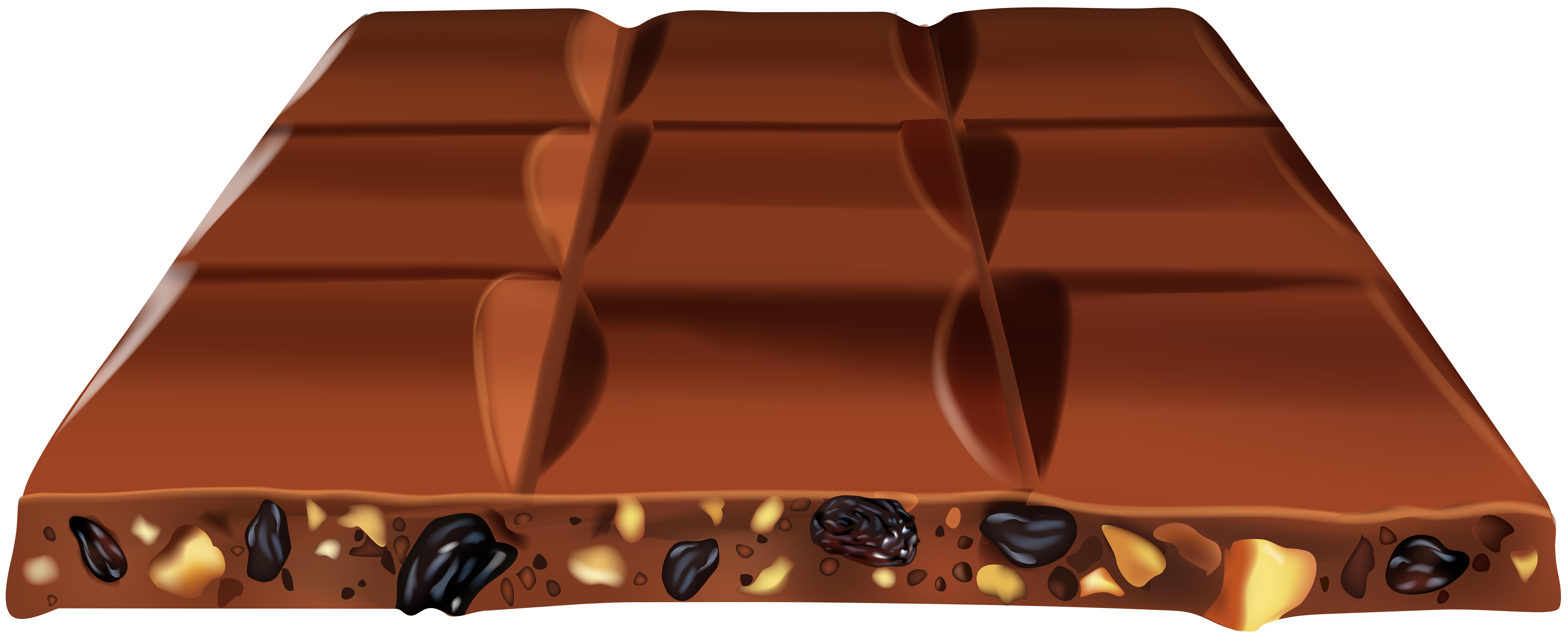 Chocolate with Nuts Transparent Clip Art Image.