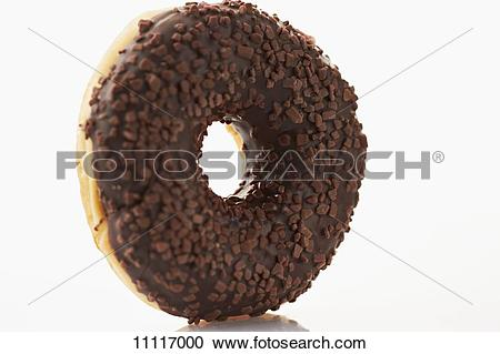 Stock Photography of A doughnut with chocolate glaze and chocolate.