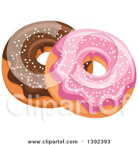 Clipart of Pink and Chocolate Glazed Donuts.