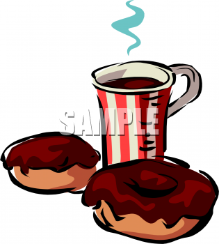 Clipart Picture of a Mug of Hot Coffee and Chocolate Glazed Donuts.