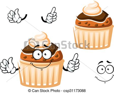 Vector of Muffin with chocolate glaze and cream.