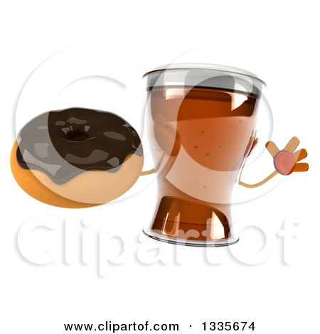 Clipart of a 3d Beer Mug Character Jumping and Holding a Chocolate.