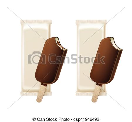 EPS Vectors of Set of Bitten Popsicle in Chocolate Glaze on Stick.