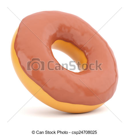 Clip Art of Donut in chocolate glaze isolated on white background.