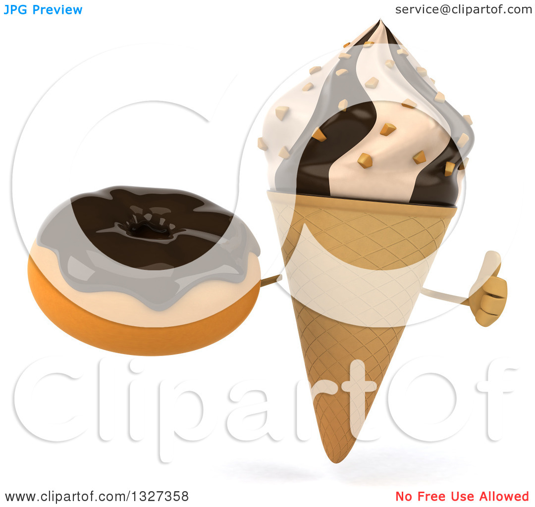 Clipart of a 3d Chocolate and Vanilla Swirl Waffle Ice Cream Cone.