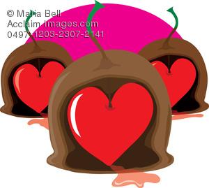 Chocolate Cherry Heart Clipart Image.