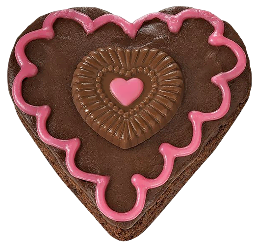 Chocolate Heart Cake with Pink Cream PNG Picture.