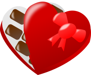 Heart box of chocolates clipart.