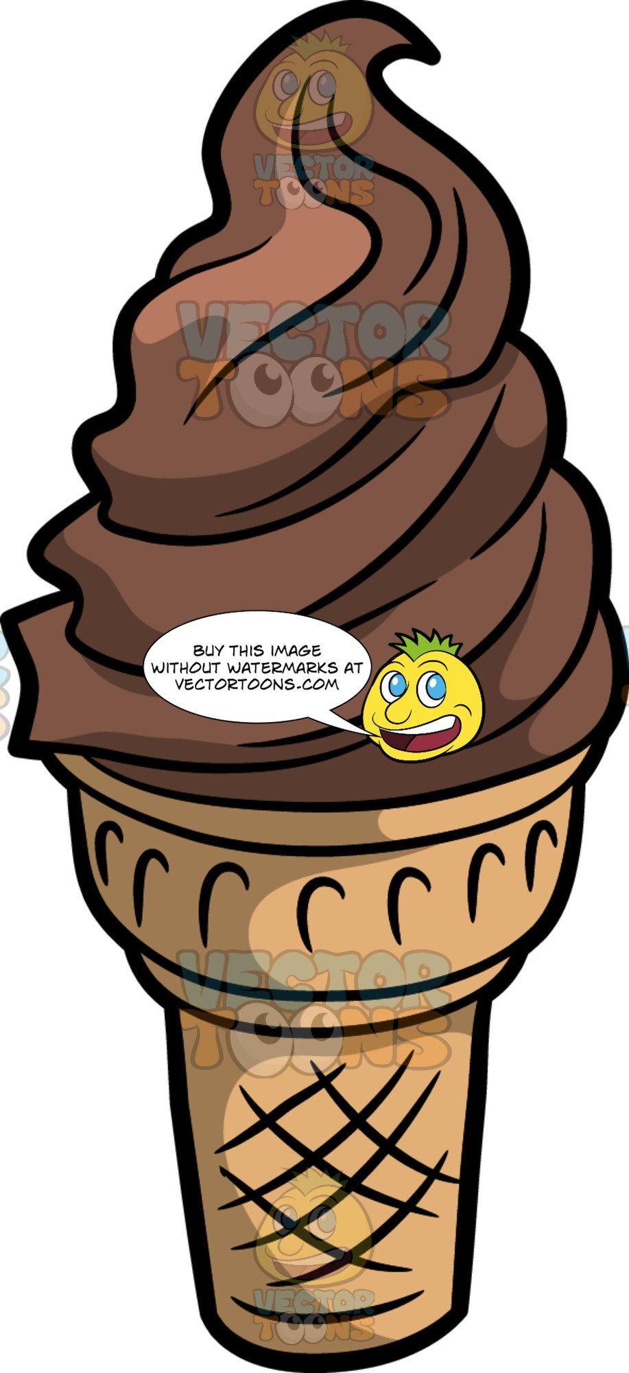 Chocolate Soft Serve Ice Cream In A Cone.