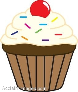 Clipart of a Cupcake With Sprinkles And A Cherry On Top.