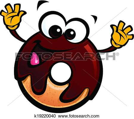 Clipart of Cartoon funny chocolate icing donut character making a.