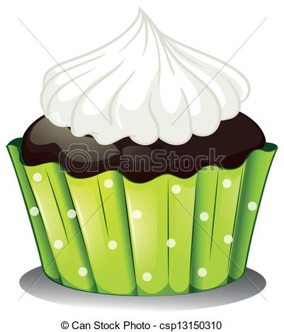 Vector Clip Art of A chocolate cupcake with an icing.