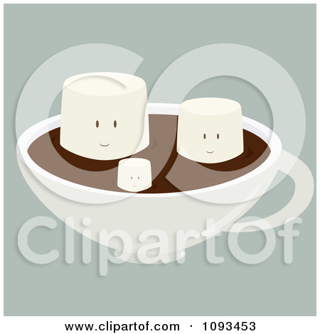 Clipart Happy Marshmallows Floating On Hot Chocolate.