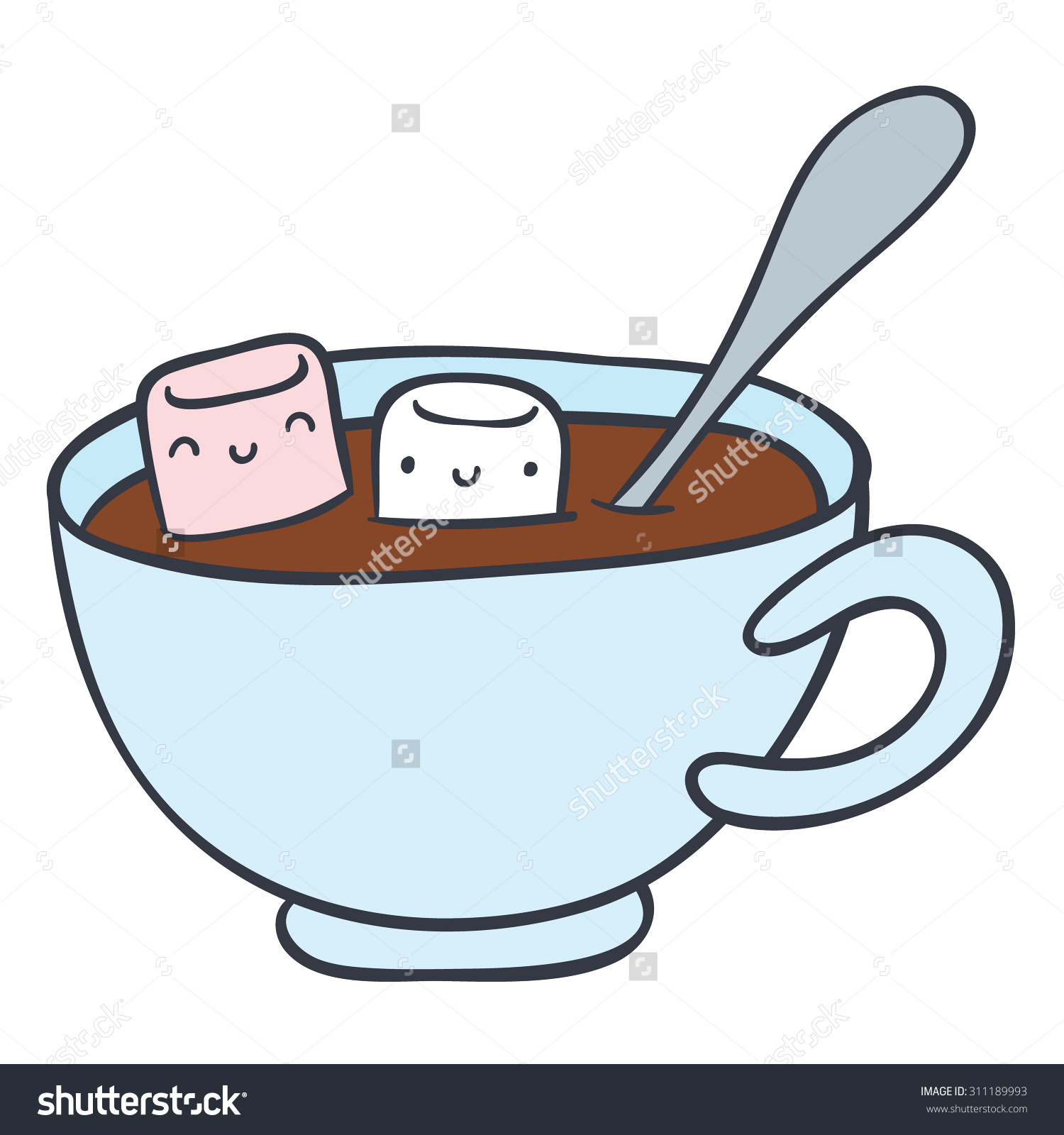 Cartoon Cup Hot Chocolate Smiling Marshmallows Stock Vector.