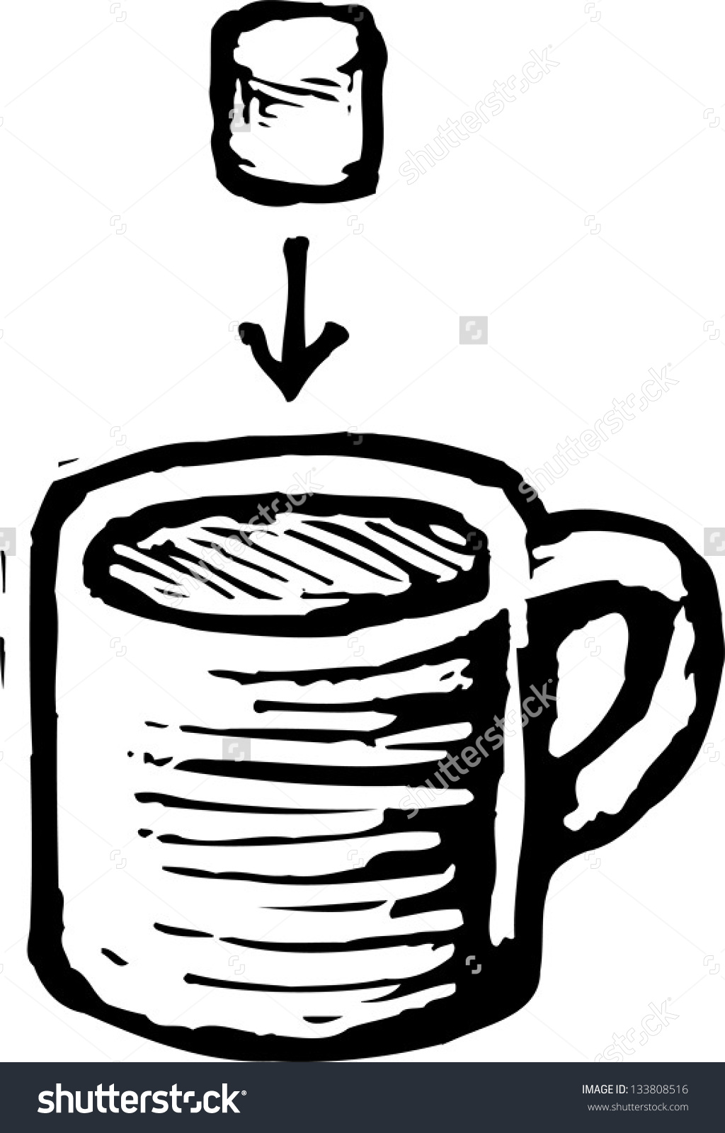 Black White Vector Illustration Hot Chocolate Stock Vector.