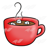 A Beka Book :: Clip Art :: Red Mug—with hot chocolate and marshmallows.
