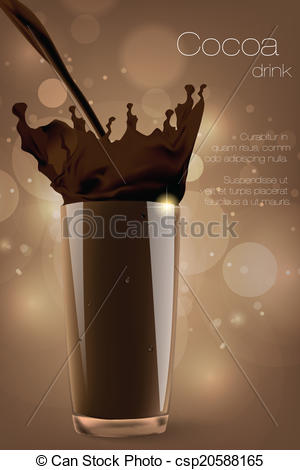 Clip Art Vector of Pouring cocoa, chocolate and milk . splash and.